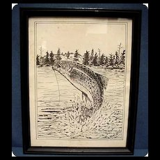 Trout Print  Framed and Signed Albert Labaff  50 % Off