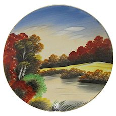 Porcelain Hand Painted Wall Plaque Artist Signed
