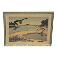 Signed Churchill Ettinger Framed Print of Sea Gulls Hunting And Fishing Vermont Artist