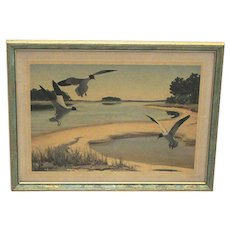 Signed Churchill Ettinger Framed Print of Sea Gulls Hunting And Fishing Vermont Artist