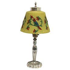 Pairpoint Antique Lamp Reverse Painted Parrot Shade