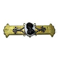 Antique Cameo Bar Pin  Victorian Era Gold Gilt