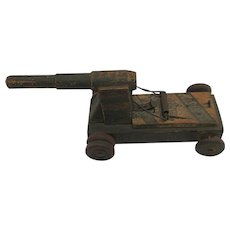 Child's Toy  Folk Art  Wood Cannon