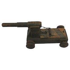 Child's Toy  Folk Art  Wood Cannon