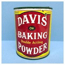 Davis  1 1/2 Pound Baking Powder Advertising Tin
