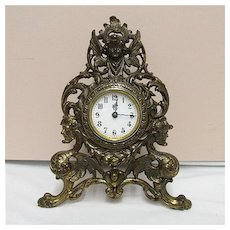 Easel Clock Waterbury Clock Co. Gilted Cherubs and Griffins