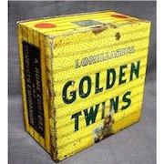 Golden Twins Advertising Tobacco Tin