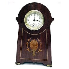 SOLD   Antique Sessions Inlaid Desk Clock In Mint Condition
