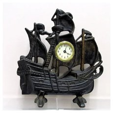 Large Cast Iron Clipper Ship Clock