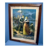Framed Antique Lithograph Print Titled Escape of Mary Queen of Scots