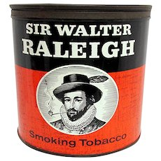 Humidor Sir Walter Raleigh Smoking Tobacco  Advertising Tin