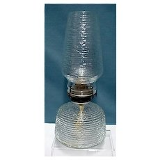Oil Lamp with Original Ripple Glass Chimney and Base