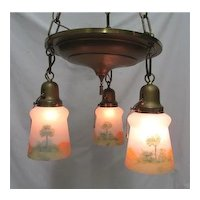American Chandelier Light Fixture with 3 original Matching Hand Painted Glass Shades Pendant Light