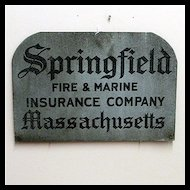 Original Metal Advertising Sign For Springfield Fire and Marine Insurance