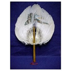 Feather Fan Antique Hand Painted