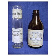 Two Food Product Bottles  Amber Glass Cofemilk and Spanish Olives