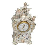 Antique Porcelain Mantel Clock Three Cherub  French  Porcelain Mantle Clock
