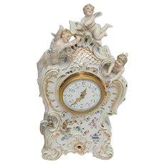 Antique Three Cherub  French  Porcelain Clock