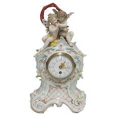 Antique French Porcelain Mantle Clock 100% Original