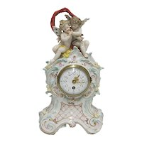 Antique Mantel Clock French Porcelain Mantle Clock 100% Original
