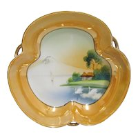 Porcelain Hand Painted Scenic Dish Japanese Luster