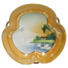 Hand Painted Scenic Dish Japanese Luster