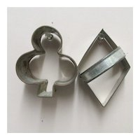 Cookie or Cake Cutters In Tin Large Card Party Shapes Diamond and Club Shape