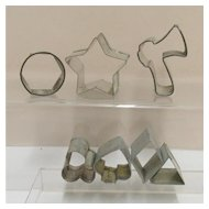 Tin Cookie Cutters  7 Mini Size for Petit Four Different Shapes