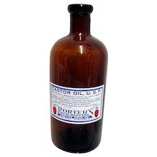 Pharmacy Castor Oil U.S.P.  Porters Prescription Amber Bottle