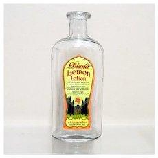 Lemon Lotion Glass Bottle from an Old Pharmacy Or Drugstore