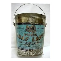 Advertising Lard Tin or Pail Mothers Pure Leaf Lard
