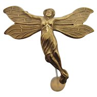 "Hatpin Gold Gilt Winged Nymph Hat Pin  9"" Long"