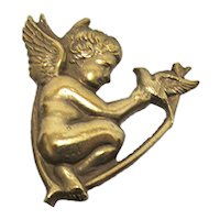 "Antique Hat Pin Gold Gilt Cupid Hatpin 9 1/4"" long"