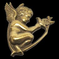 "Hat Pin Gold Gilt Cupid Hatpin 9 1/4"" long"