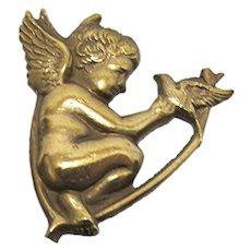 "Hat Pin Gold Gilt Cupid Hatpin 9 1/4"" long"