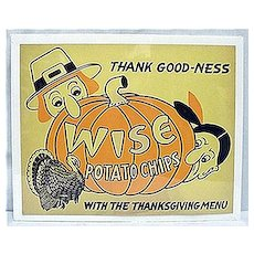 Original Advertising Sign For Wise Potato Chips For Thanksgiving