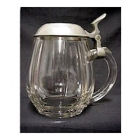 Beer Stein Antique Clear Glass with Pewter Lid