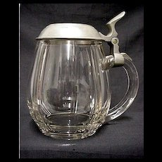 Beer Stein Clear Glass with Pewter Lid