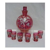 Cranberry Glass Liqueur Decanter Set with 6 Glasses