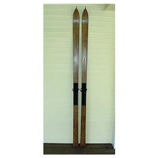 Pair Of Antique Victorian Wood Skis