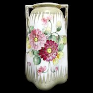 """Nippon Vase Hand Painted Floral 10"""" tall"""