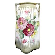 "Nippon Vase Hand Painted Floral 10"" tall"