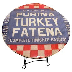 American Wrought Iron Leg Advertising Table  for Purina Turkey Fatena