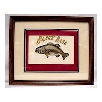Framed Fish Print Black Bass Lithograph Outdoors Fishing