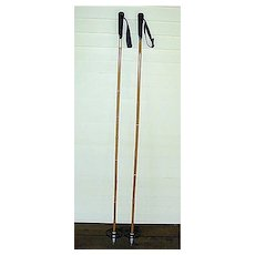 Pair Of Antique Bamboo Ski Poles