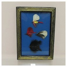 Framed Fly Fishing Flies Set of Four Different