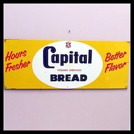 Original Metal Advertising Sign For Capitol Bread