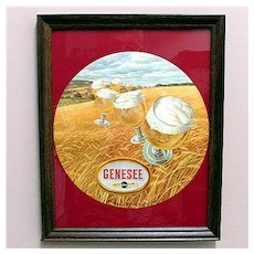 Original Genesee Beer Advertising Sign Framed Mint Condition