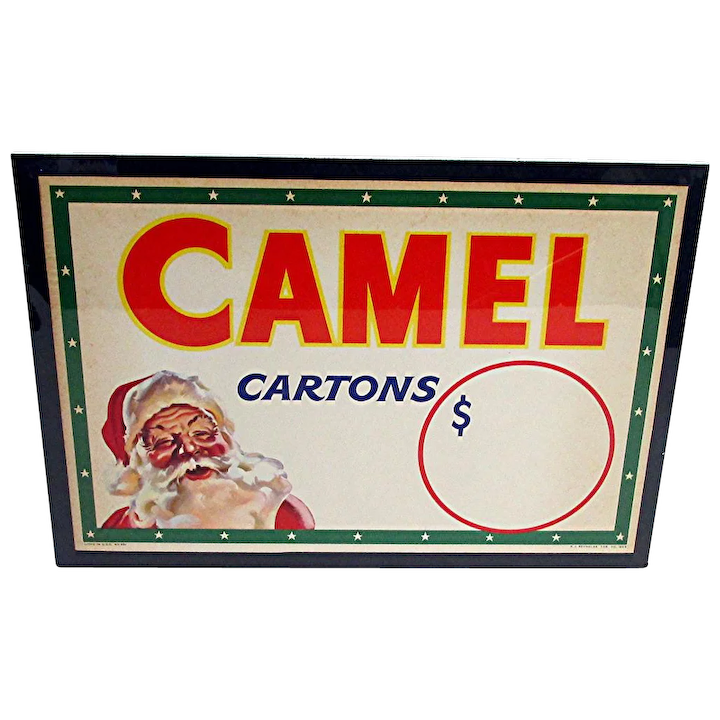 Advertising Sign Camel Cigarettes Christmas Store Display Drury