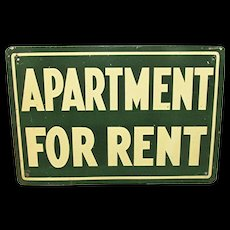 Tin Sign Apartment for Rent